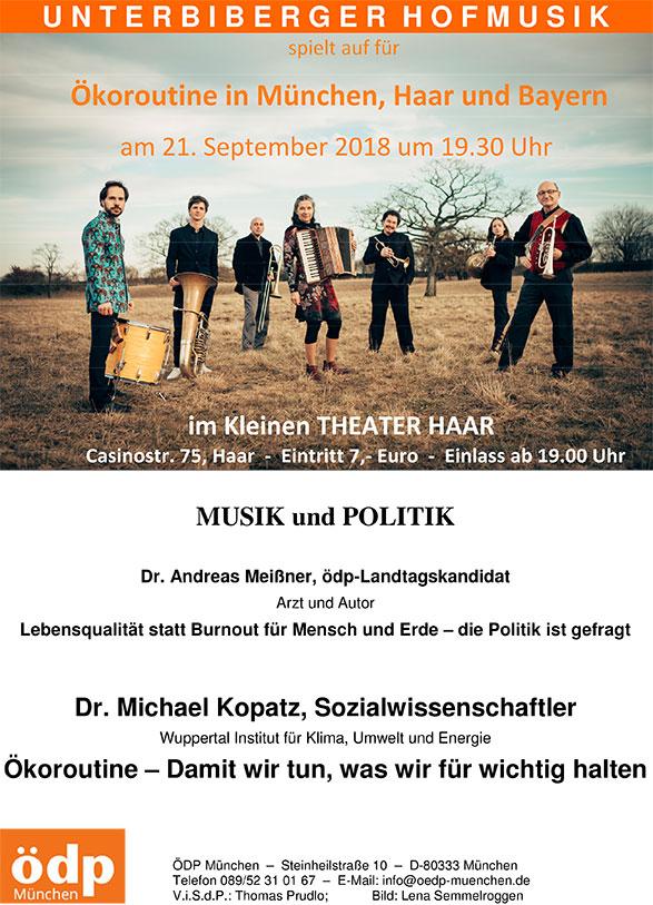 21.09.2018 – Musik und Politik: Ökoroutine in München, Haar und Bayern